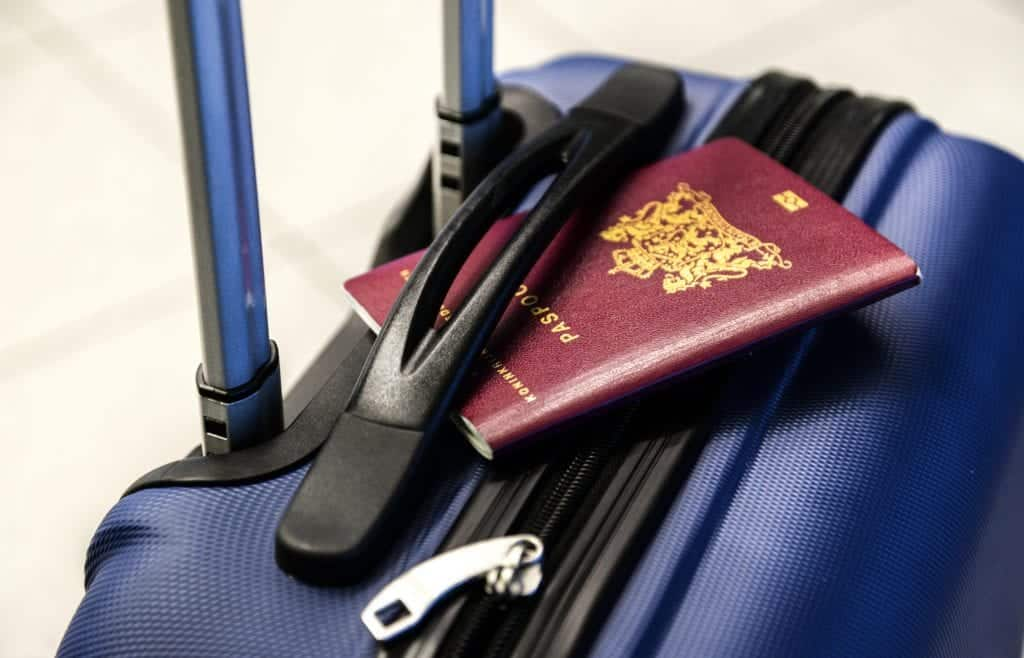passport on a suitcase