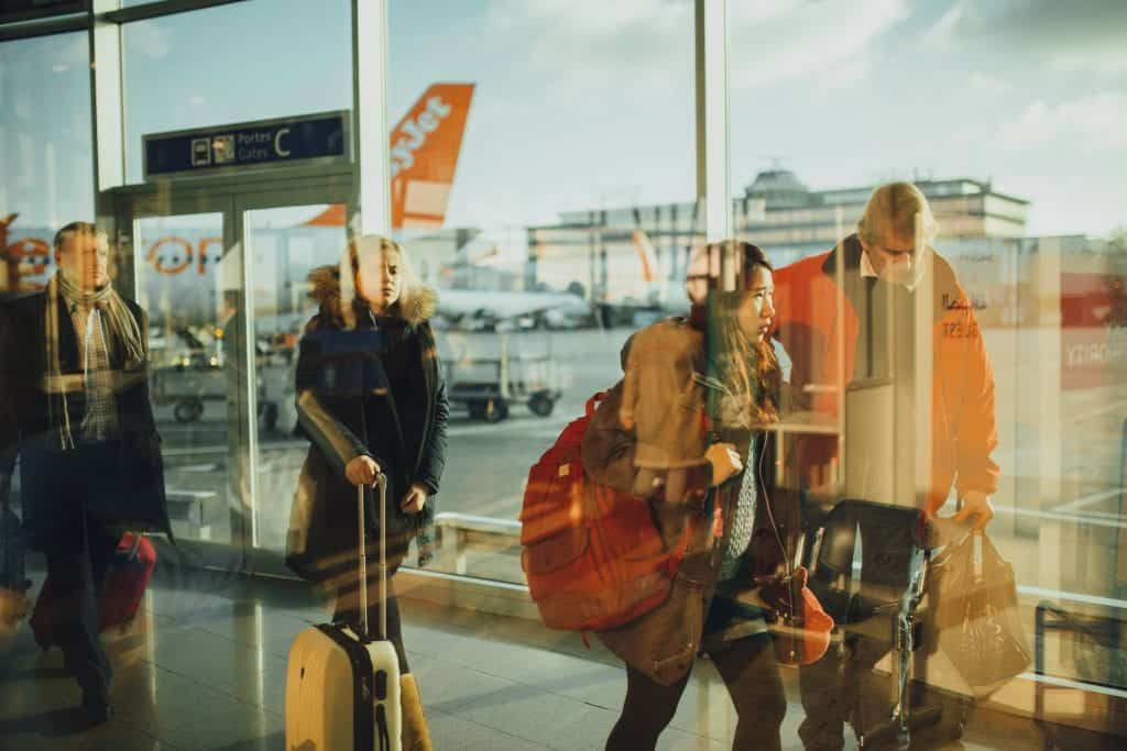 travelers at airport in Europe