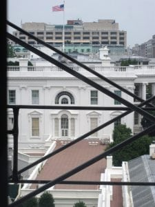 Looking out at the construction of the Eisenhower Executive Office Building and the West Wing