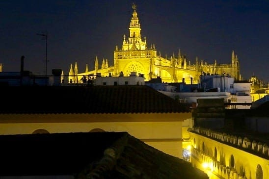 Cathedral of Sevilla from La Banda Rooftop on Semana Santa