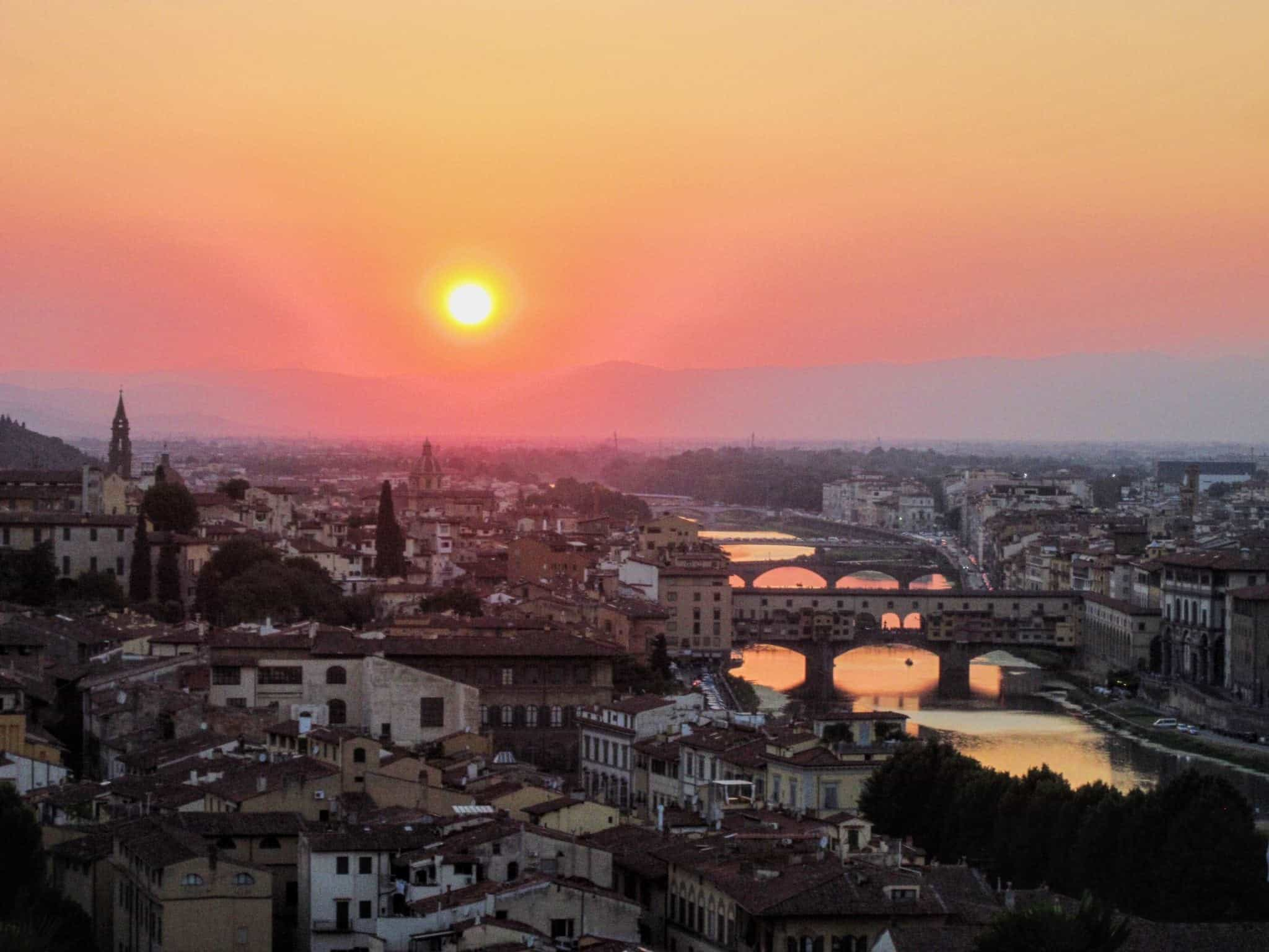 "Florence sunset in ""Best Hostels in Europe for Solo Travelers & Backpackers"""