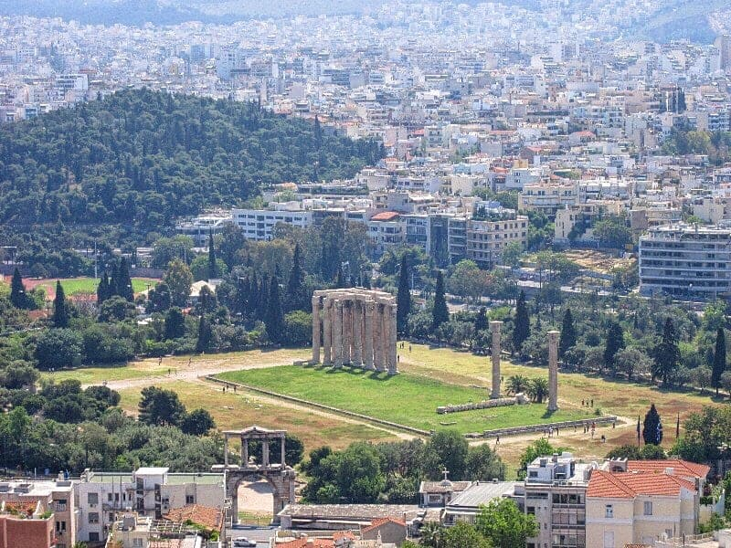 "Athens ruins in ""Best Hostels in Europe for Solo Travelers & Backpackers"""