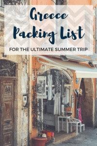 Greece Packing List