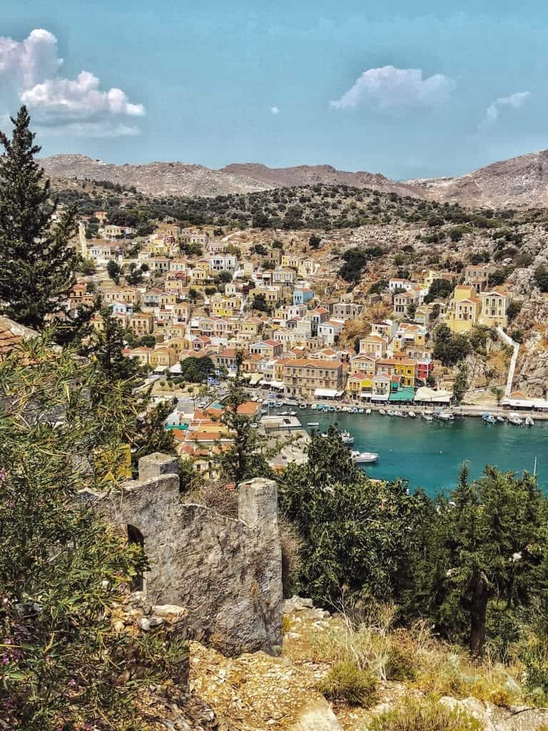 view from Kali Strata steps: Rhodes to Symi day trip