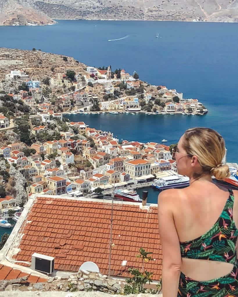 view from Magali Penagia church: rhodes to symi day trip