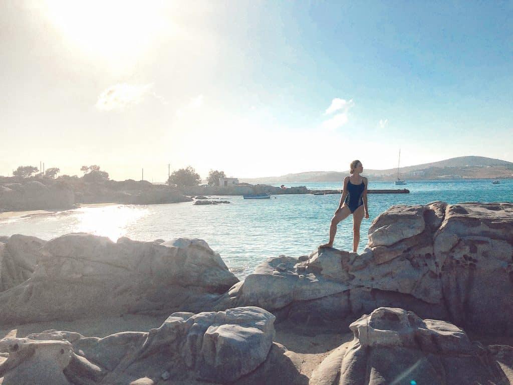 rocky beach in Paros, Greece