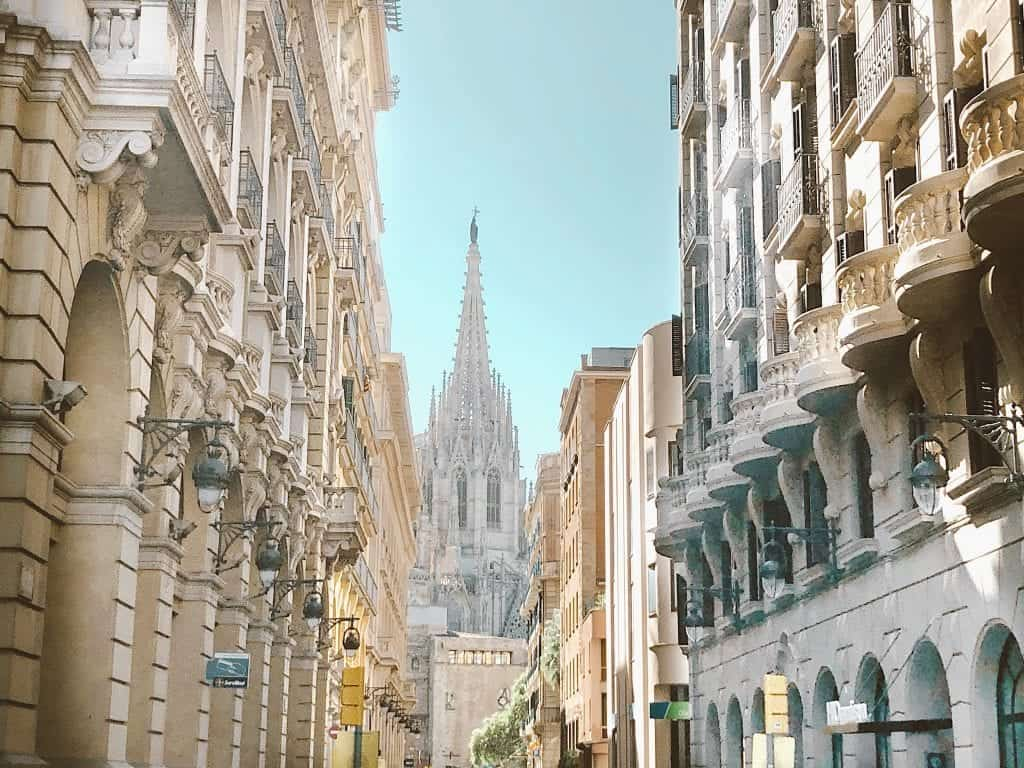 view of cathedral during weekend in Barcelona
