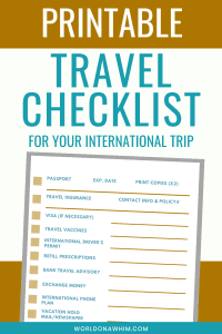 printable travel checklist for international trip