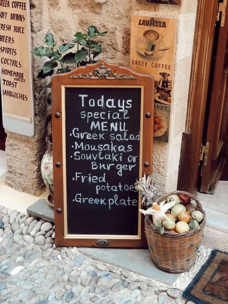 taverna menu Greece