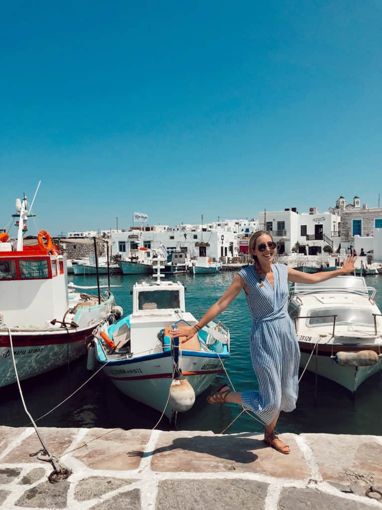 dancing in a blue and white jumpsuit in naousa