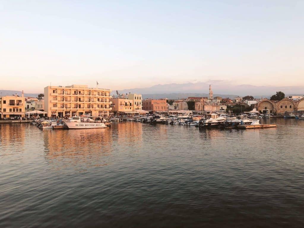 Chania harbor in Crete Greece