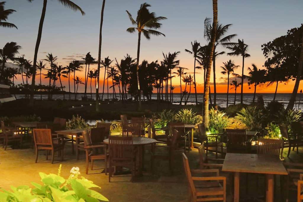 sunset at canoe house restaurant Kohala hawaii