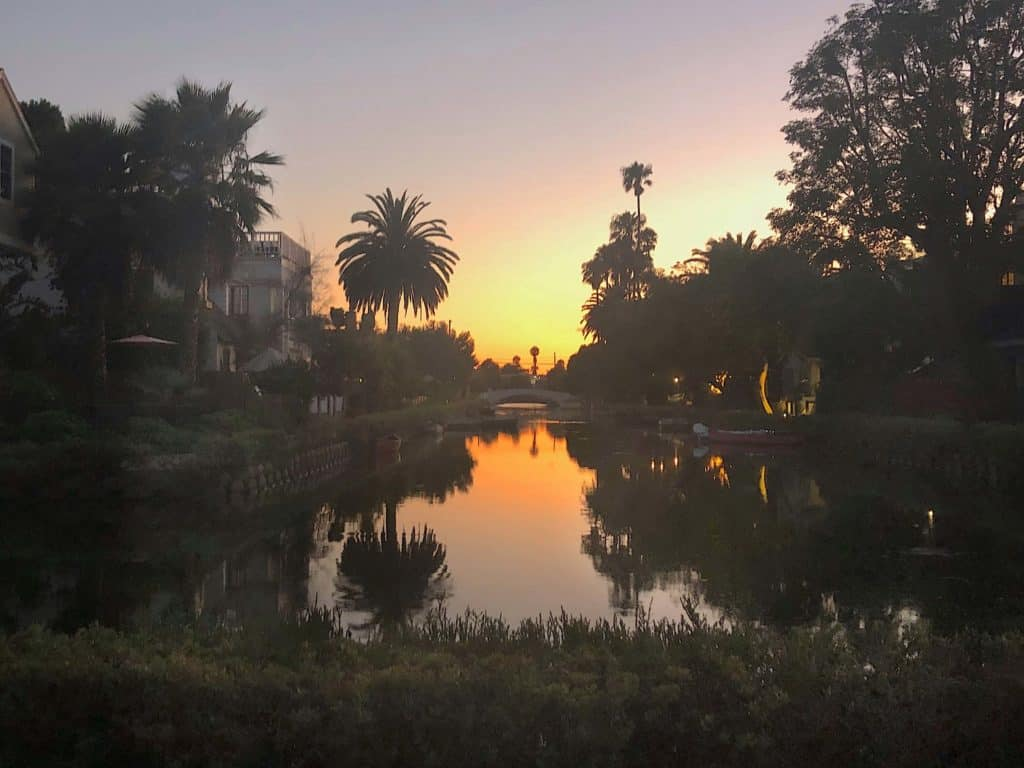 venice canals at sunset in los angeles